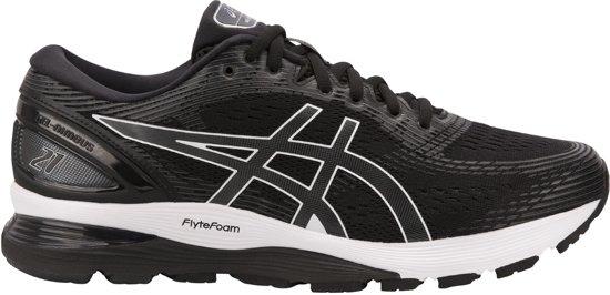Asics Gel-Nimbus 21 Hardloopschoenen Heren Sportschoenen - Maat 44.5 - Mannen - zwart/wit