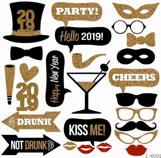 ForDig - Nieuwjaar Party 2019 - Oud en nieuw - Photobooth Prop set - 26 delig