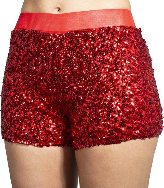 Hotpants pailletten rood