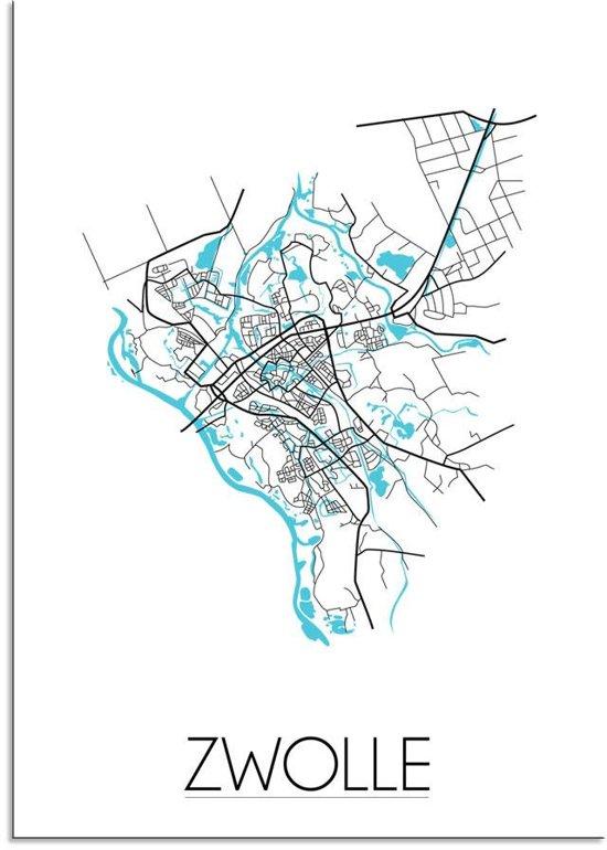 Plattegrond Zwolle Stadskaart poster DesignClaud - Wit - A3 + fotolijst zwart