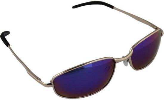 6c2ae420aee5dd Zonnebril Sport Rechthoek Polariserend Glas Goud Blauw Meerkleurig GRATIS  Brillenkoker