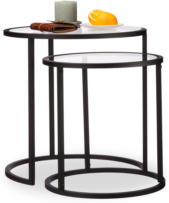 2 Glazen Bijzettafeltjes.Relaxdays Bijzettafel Set Van 2 Stuks Glas Rond Ruimtebesparend Nachtkastje Zwart