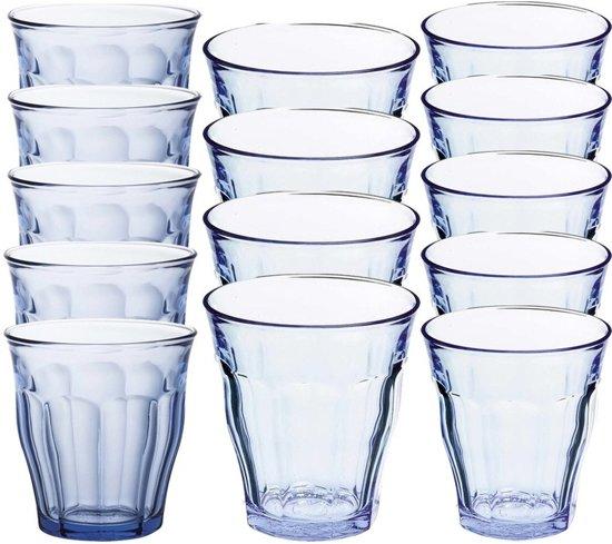 Drinkglazen/waterglazen Picardie set blauw 220 / 250 / 310 ml - 36-delig - koffie/thee glazen