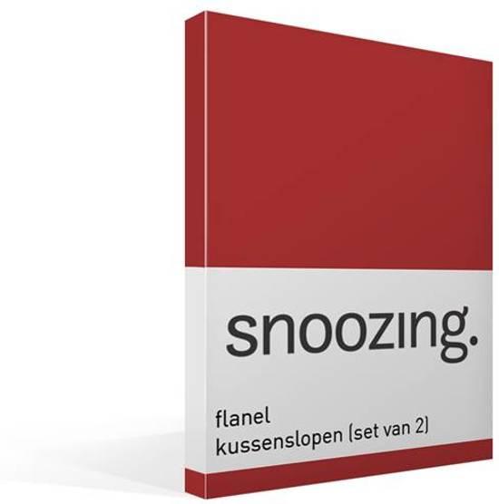 Snoozing flanel kussenslopen (set van 2) Rood 60x70 cm (90 rood)