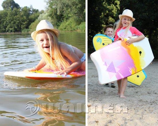 Waimea Bodyboard EPS Print - Slick Board - Wit/Turquoise/Paars