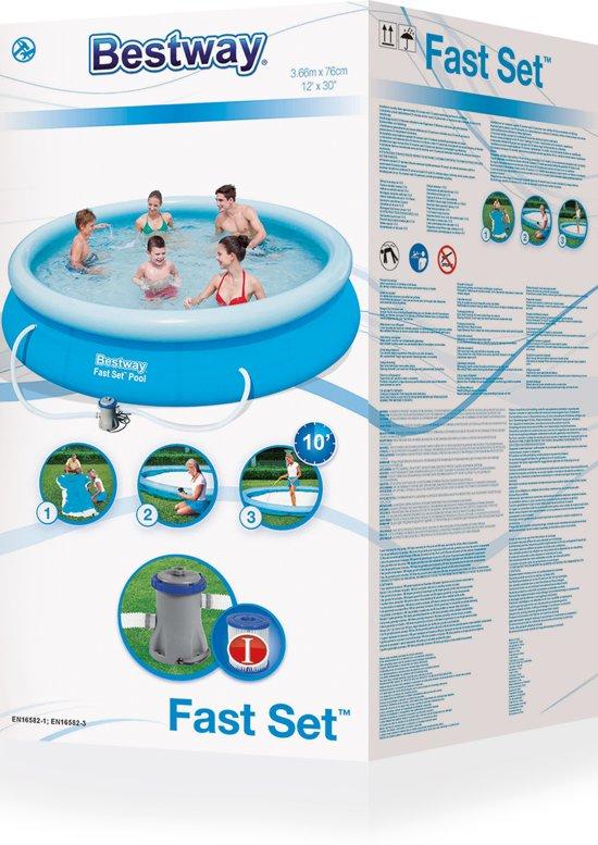 Bestway Fast Set Pool Zwembad 366 x 76 cm