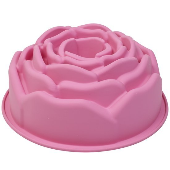 PavonIdea Bouquet - Siliconen Bakvorm Roos diam. 21,5 x h 9.5cm - Roze Valentinaa