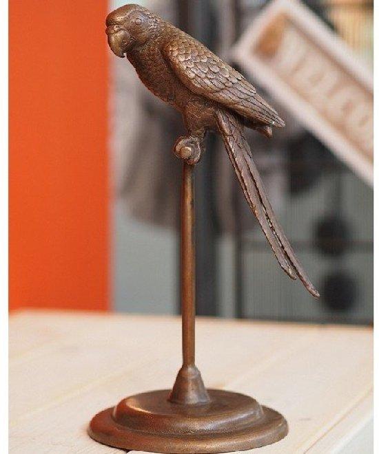 Bronzen Beeld - Parkiet op stok