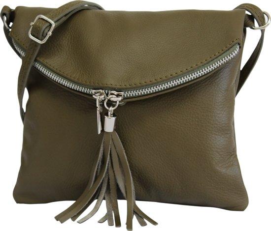 AmbraModa Italiaanse schoudertas crossbody tas dames kleine tas van echt leer NL610  Olijfgroen