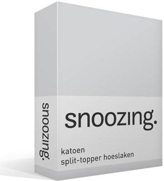 Snoozing - Katoen - Split-topper - Hoeslaken - Lits-jumeaux - 200x210/220 cm - Grijs