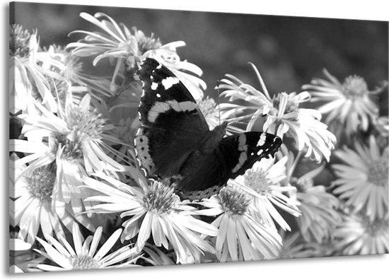Schilderij | Canvas Schilderij Bloemen, Vlinder | Zwart, Wit, Grijs | 140x90cm 1Luik | Foto print op Canvas
