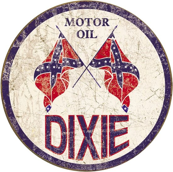 Signs-USA Dixie Gas Weathered - Retro Wandbord - Metaal - 30 cm rond