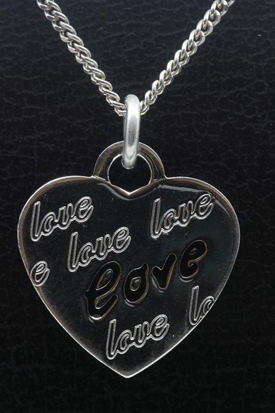Zilveren Hart Love ketting hanger