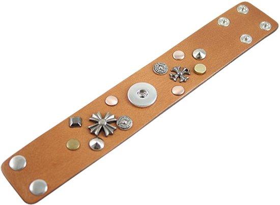 Lederen armband voor click buttons Lengte:21,5 cm