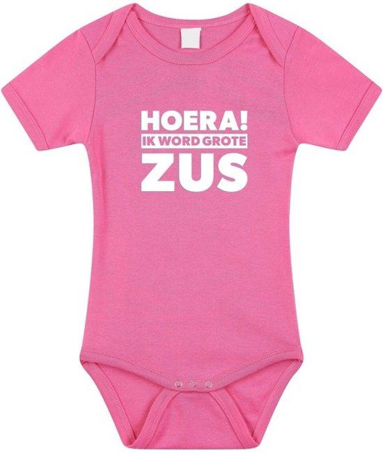 Roze Hoera ik word grote zus rompertje voor meisjes - Zwangerschapsaankondiging 68 (4-6 maanden)