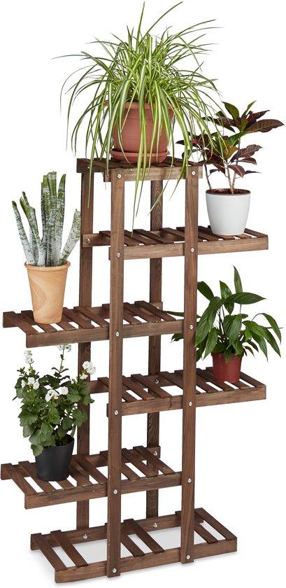 Plantenrek van hout - 5 etages - Plantentrap 5 planken - Bloemen rek - Kleur: CHOCOLADEBRUIN