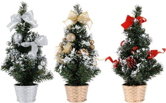Mini kerstboom met decoratie 30 cm zilver for Decoratie zilver