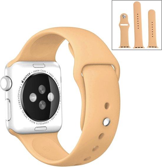 Apple Watch Siliconen Bandje Small + Large Geschikt voor Apple Watch 1 / 2 / 3 / 4 / 5 - 38MM / 40MM  Geel / Yellow  Premium kwaliteit  TrendParts