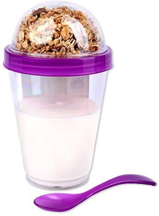 Yoghurtbeker - Bewaarbeker Yoghurt - Salade Beker - Beker 2 Go - Yoghurt Meenemen (2 Stuks)