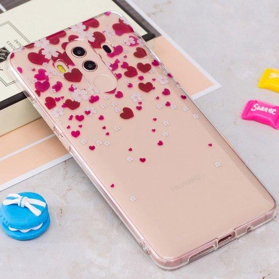 Let op type!! Voor Huawei Mate 10 Pro IMD harten bloemenpatroon duidelijk TPU beschermende terug softcase