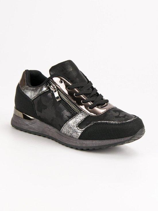 Zwart Metallic Maat 39 Schoenen Sneakers Dames Zilver Fagwnqv