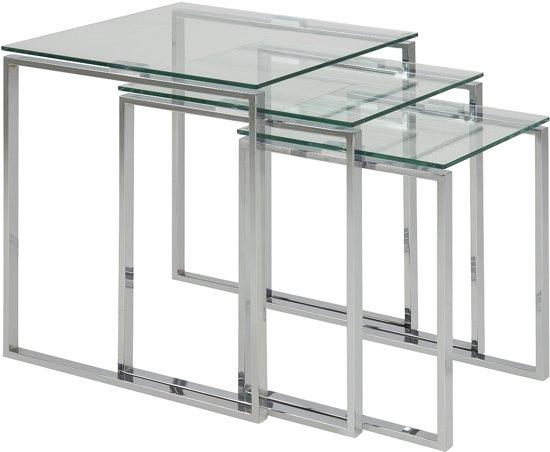 Bijzettafel Vierkant Glas.24designs Set 3 Bijzettafel Serenity 50 Cm Helder Glas