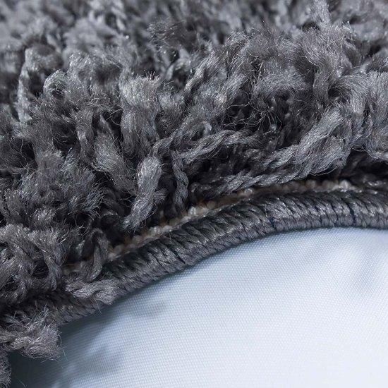 Hoogpolig shaggy vloerkleed 160x160cm vierkant grijs