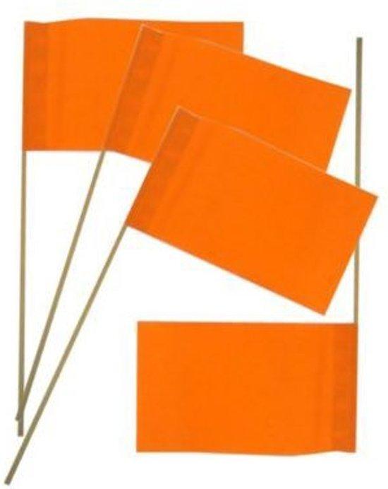 vlaggetje op stok oranje per 50