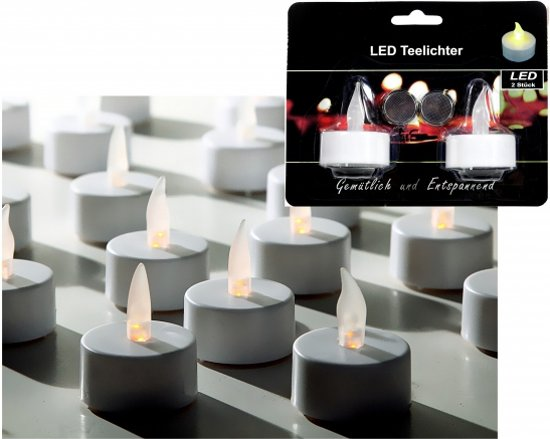 Witte LED theelichtjes 2 stuks - LED kaarsen Valentinaa