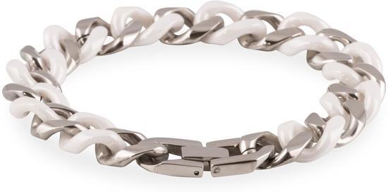 Slate - Stalen schakelarmband 21 cm - Gourmetschakel - Wit keramiek