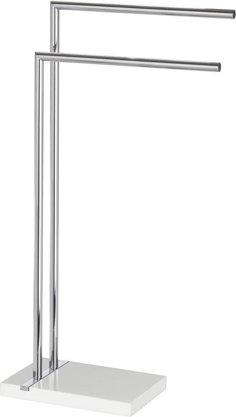 WENKO Handdoekstandaard Noble White met 2 armen, kledingstandaard