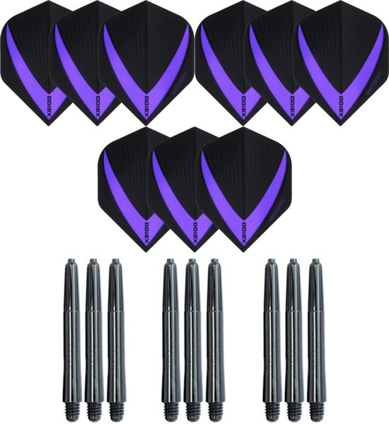 3 sets (9 stuks) Super Sterke – Paars - Vista-X – darts flights – inclusief 3 sets (9 stuks) - medium - darts shafts