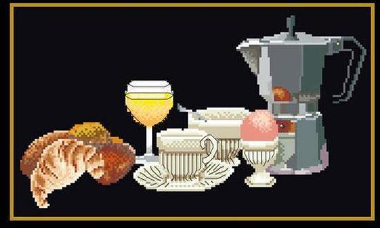 Thea Gouverneur Borduurpakket 2095.05 Ontbijt stilleven - Aida stof zwart 100% katoen