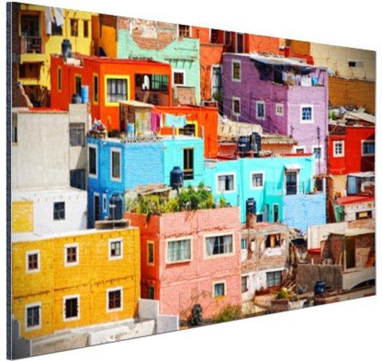 Kleurrijke steden van Mexico Aluminium 60x40 cm - Foto print op Aluminium (metaal wanddecoratie)