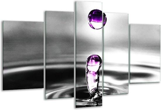 Glasschilderij Druppels | Zwart, Wit, Paars | 170x100cm 5Luik | Foto print op Glas |  F002038