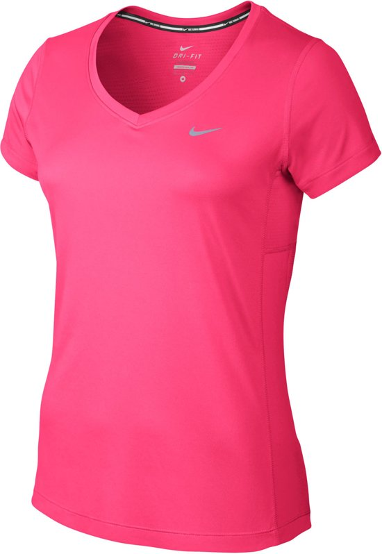 ad7f555c65d bol.com   Nike Miler V-Neck Sportshirt - Maat M - Vrouwen - roze