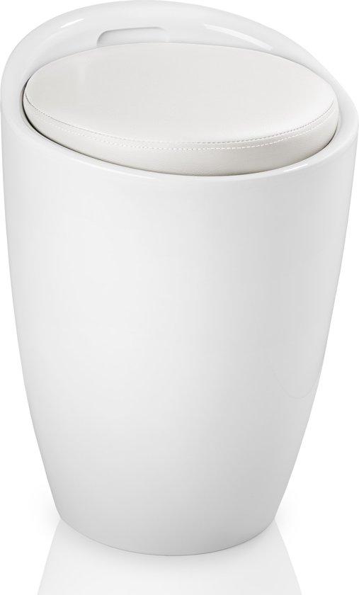 TecTake - opbergkruk, kruk met opbergruimte - wit / wit - 402077