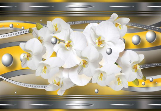 Fotobehang Orchids Abstract | XXL - 206cm x 275cm | 130g/m2 Vlies