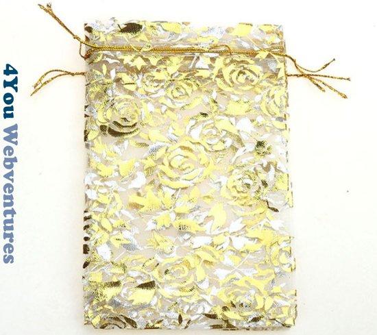 50x Witte Tulle Organza zakjes 10 x 15 cm met trekkoordje. Snoepzakjes – cadeauzakjes – trouwerij – trouwfeest – babyshower – roze – wit met gouden rozen opdruk