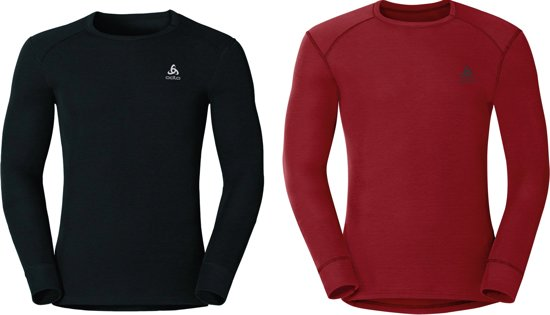 Odlo Shirt L/S Crew Neck Active Warm 2 Pack Heren Thermoshirt - Back/Jester Red - Maat XXL