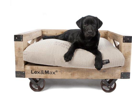Lex & Max Hondenbank Hout Op Wielen - Bruin - 75 X 50 cm - Excl. Kussen