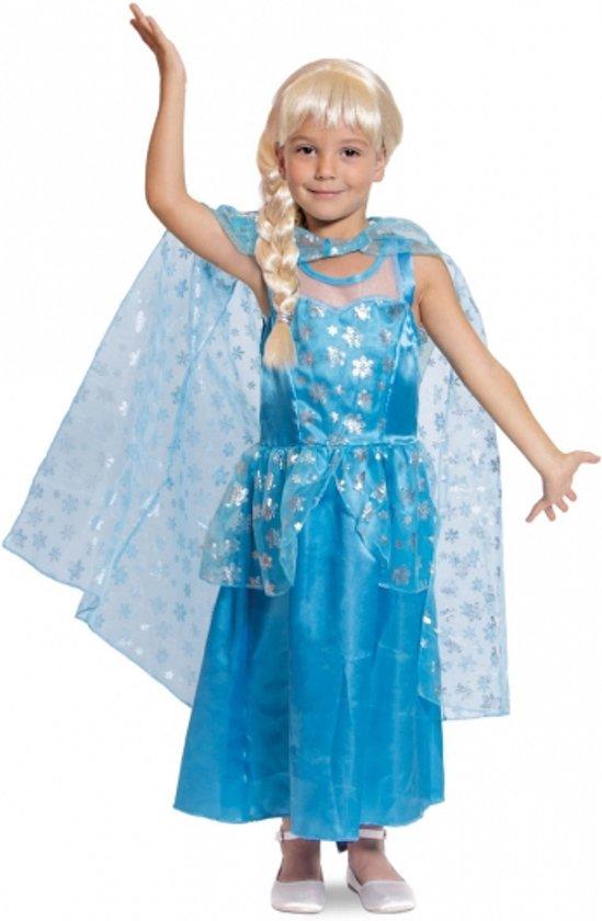 7449231f69c588 Blauwe prinsessenjurk met cape voor meisjes 3-5 jaar