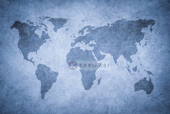 Schilderij - Grunge wereldkaart, blauw