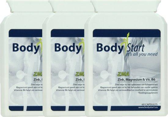 BodyStart ZMA   Zink, Magnesium & Vitamine B6   VOORDEELVERPAKKING 180 Capsules  Krachtige samenstelling   Voor sporters   Voor opbouw en behoud van sterke spieren