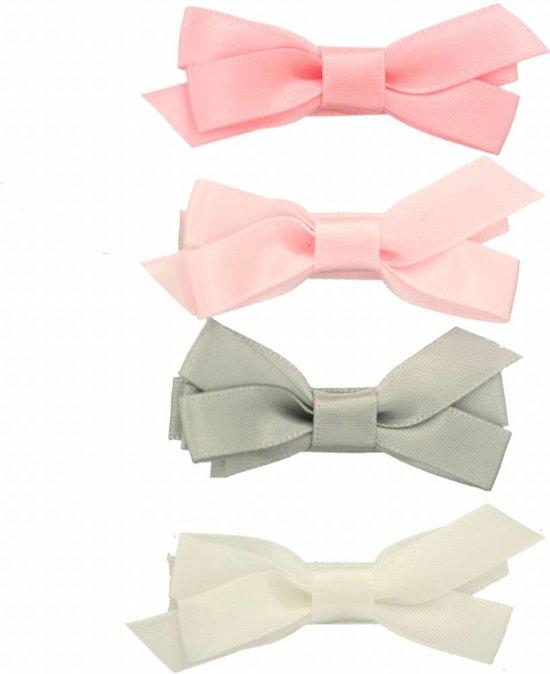 Setje haarspeldjes met satijnen strik pastel - Small 4 cm | Roze, Grijs | Baby, Meisje