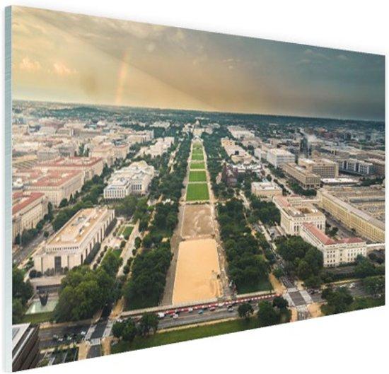 National Mall en Capitool luchtfoto Glas 120x80 cm - Foto print op Glas (Plexiglas wanddecoratie)