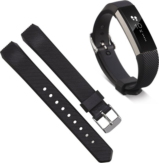 Siliconen Horloge Band Voor Fitbit Alta HR - Armband Polsband Strap / Sportband - Small/Large - Zwart
