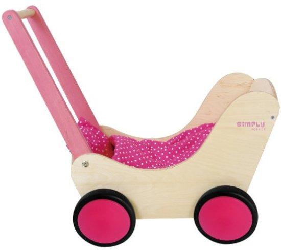 Simply houten poppenwagen Roze
