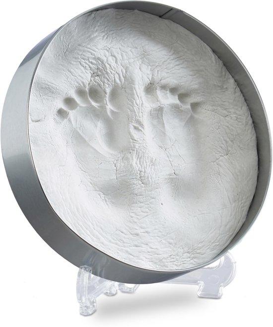 relaxdays gipsafdruk baby - gipskit - voetafdruk - handafdruk - babyafdruk set - gips Rond