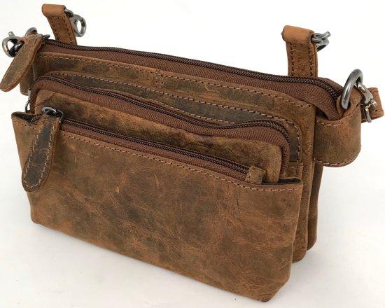 Leather Design Dames Hunter Leren Festivaltasje bruin